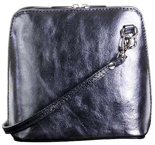 Primo Sacchi Damen Italienisches Leder Handgemacht Klein/Mikro über Leichensack oder Umhängetasche Handtasche Metallisch Grau