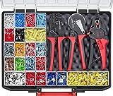 Wiha Juego de herramientas pelacables y crimpadoras (43982), 4 piezas, con elementos de conexión, 2600 unidades, código de color 1 (FR) en caja surtida.