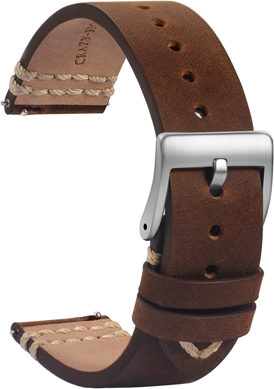 TStrap Leather Watch Bands 20mm Inexpensive Quick - Release Soft specialty shop Brown