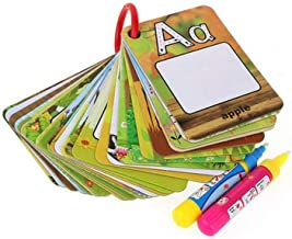 Water Painting Graffiti Book Card 26 Letters Chidren Early Education Cognitive Cards A-Z Alphabet Word Colouring Doodle Board + 2 Magic Drawing Pens Games Toy for Toddlers Kids Baby