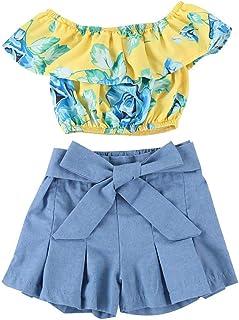 BOIZONTY Kids Baby Girls Outfits Floral Ruffle Off Shoulder Crop Tops + Bowknot Denim Shorts Skirt Set Toddler Summer Clothes (Blue, 2-3T)