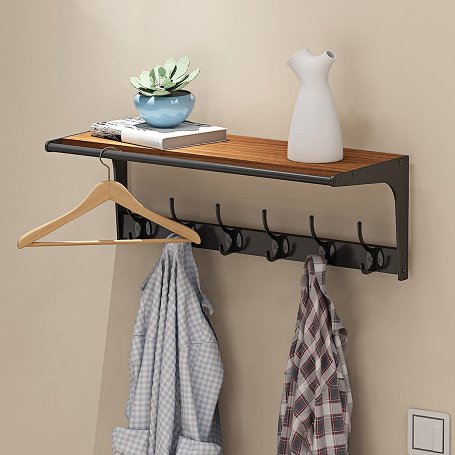 TIANTA- Multi-Functional Coat Rack Solid Wood Hooks Hangers Simple Modern Porch Wall Shelves (60.5  23.5  22CM) Home Furnishing (color   A)
