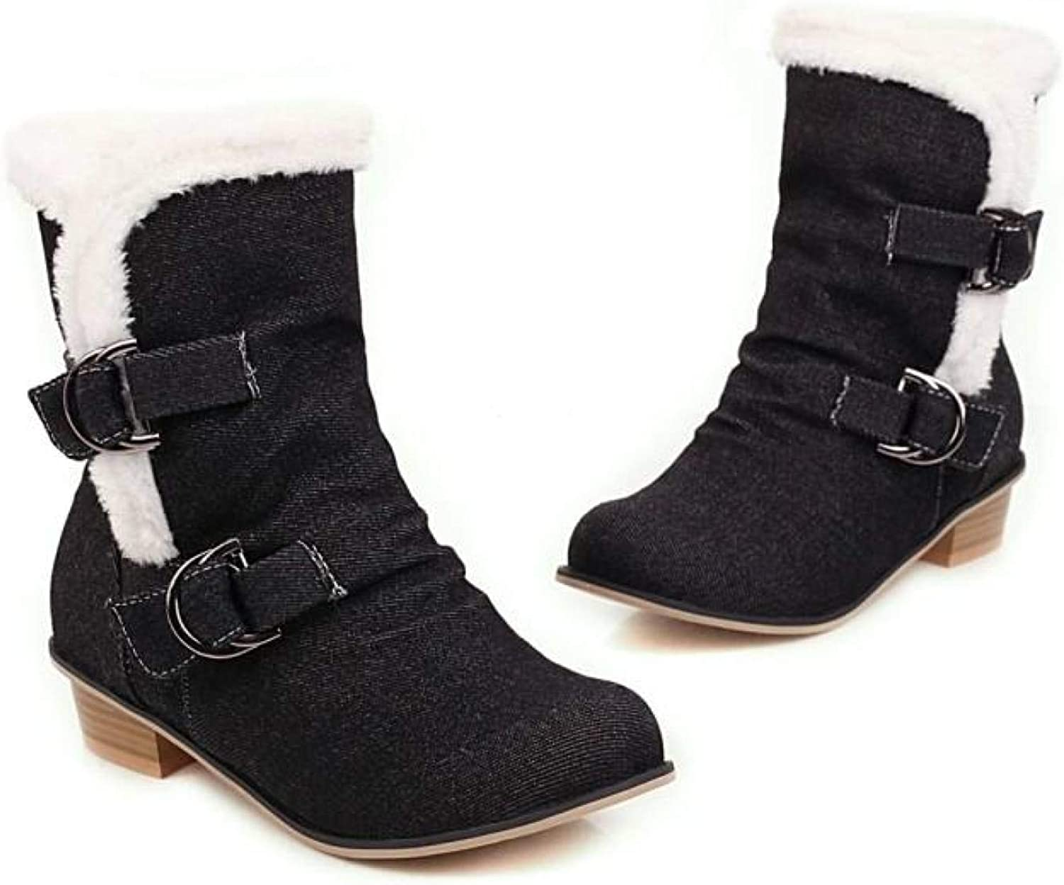 Fur Lined Chunky Block Heel Be super welcome Ankle Womens For Excellence Buckl Slip On Boots