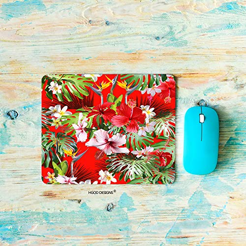 HGOD DESIGNS Tropical Gaming Mouse Pad,Red Tropical Hawaiian and Leaves Pattern Mousepad Rectangle Non-Slip Rubber Mouse Pads(7.9'X9.5')