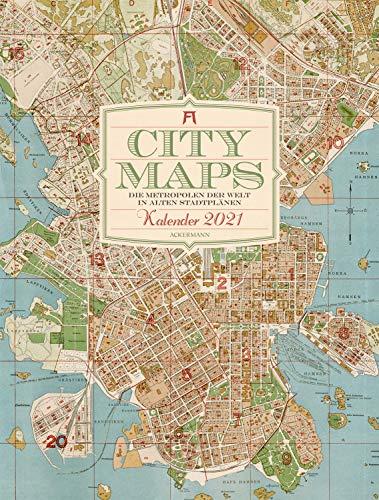 City Maps - Die Metropolen der Welt in alten Stadtplänen Kalender 2021, Wandkalender auf Naturpapier im Hochformat (50x66 cm) - Landkarten