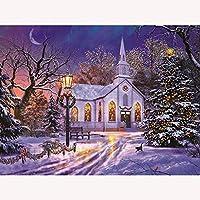 DIY5Dダイヤモンドペインティングキット明るい光の教会モザイククロスステッチフルラウンドドリルラインストーン刺繡アートクラフト大人のための初心者の家の装飾ギフト40X50Cm