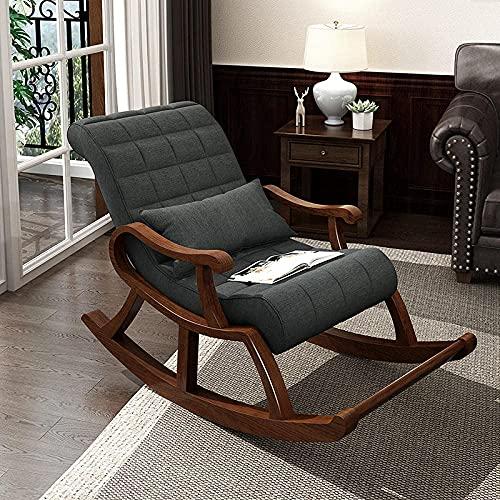 FVGBHN Schaukelstuhl Auf Der Sonnenliege, Gepolsterter Lounge-Schaukelstuhl, Ergonomie-Liegestuhl Im Chinesischen Stil Für Wohnzimmer, Schlafzimmer Und Büro-Grau