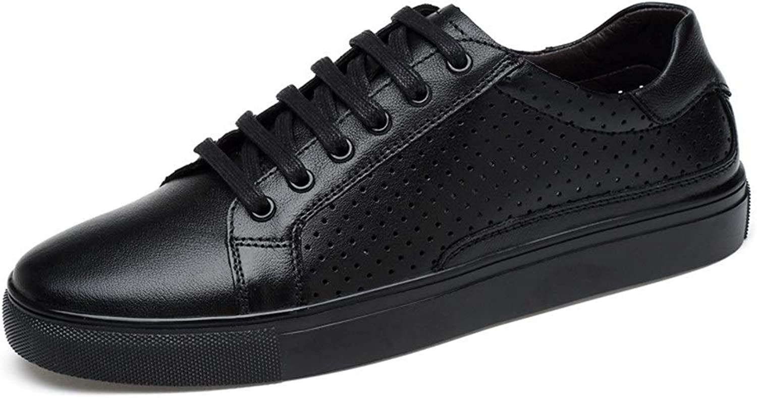 Easy Go Shopping Sneaker For Men Sports shoes Lace Up Cowhide Leather Round Toe Outdoor Leisure Cricket shoes (color   Black Hollow, Size   5.5 UK)