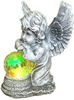Bo-Toys Solar Powered Angel with Solar Glowing Globe LED Garden Light Decor Color Change