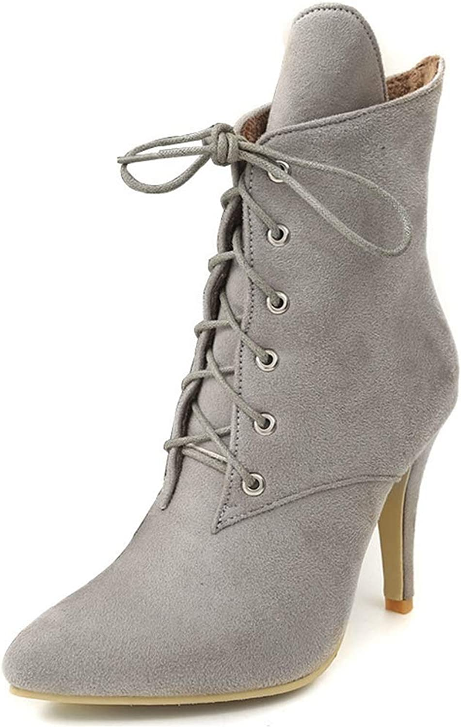CYBLING Women's Pointed Toe Ankle Booties Fashion Lace Up Side Zipper Pencil Stiletto Heel Combat Boots