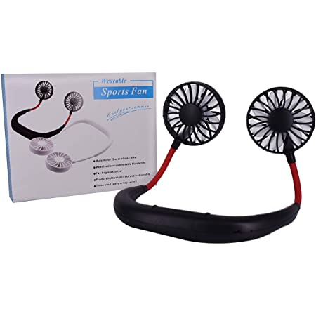 360° Portable USB Rechargeable Neckband Dual Cooling Mini Fan Lazy Neck Hanging