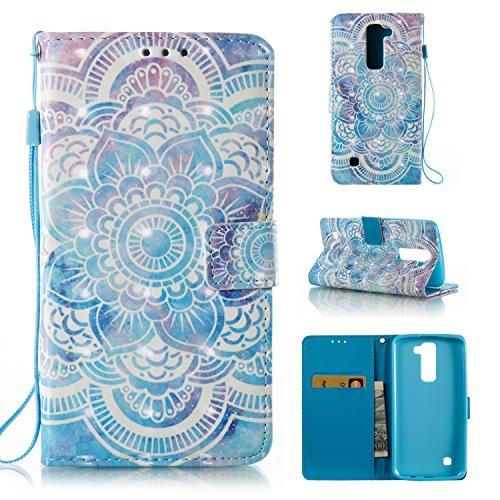 Qiaogle Telefono Case - Custodia in Pelle PU Basamento Custodia Protettiva Cover per LG K7 / LG Tribute 5 / LG K8 (5.0 Pollici) - YB55 / Blu Mandala
