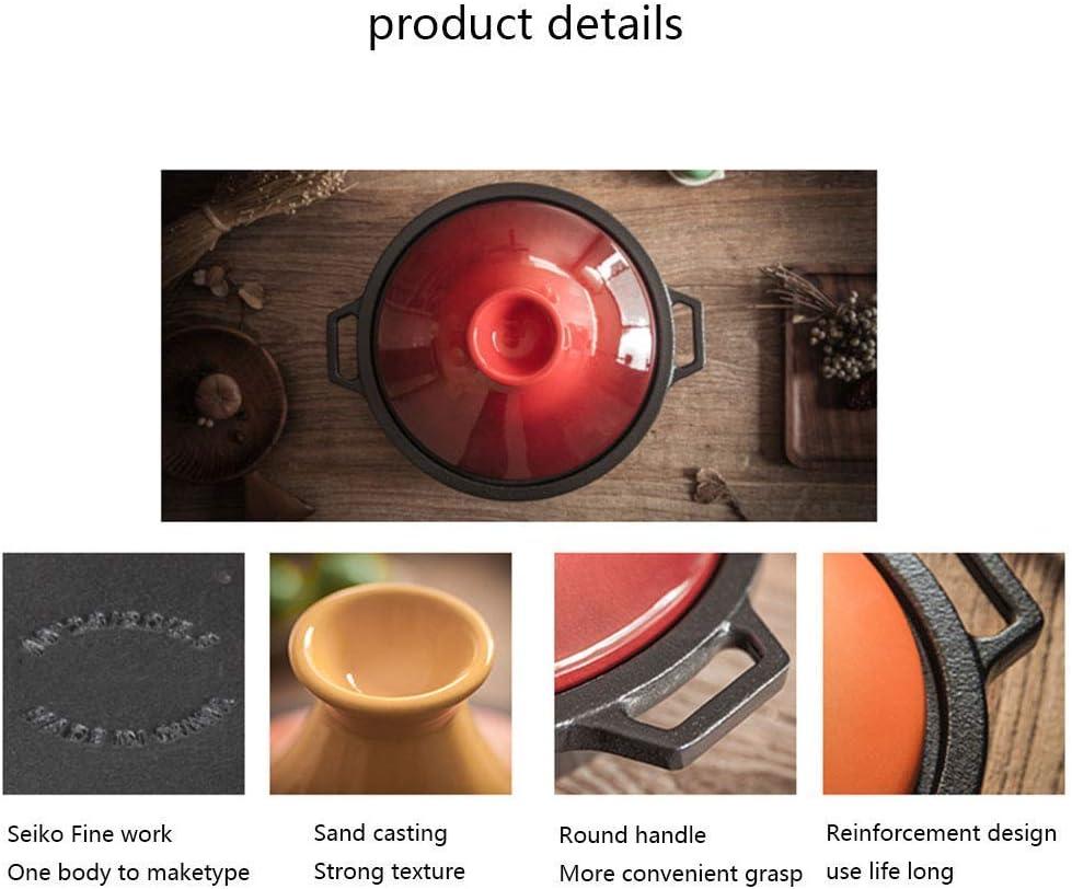 L.TSN Pot à tajine en Fonte émaillée Pot à tajine avec Base en Fonte Marmite à ragoût Vapeur 2L Orange Orange