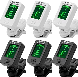Fangstar Guitar Tuner Clip On Tuner for All Instruments - with Guitar, Bass, Violin, Ukulele, Clear LCD Display For Guitar Tuner Digital Electronic Tuner 6 Pack