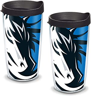 Tervis NBA Dallas Mavericks Colossal Tumbler with Wrap and Black Lid 2 Pack 16oz, Clear