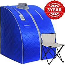 HEALTH LINE PRODUCT Portable Far Infrared Sauna, fit for People Under 6.6ft, Support 350lbs Home spa Sauna, Easy Clean and Portable (Blue + Grey)