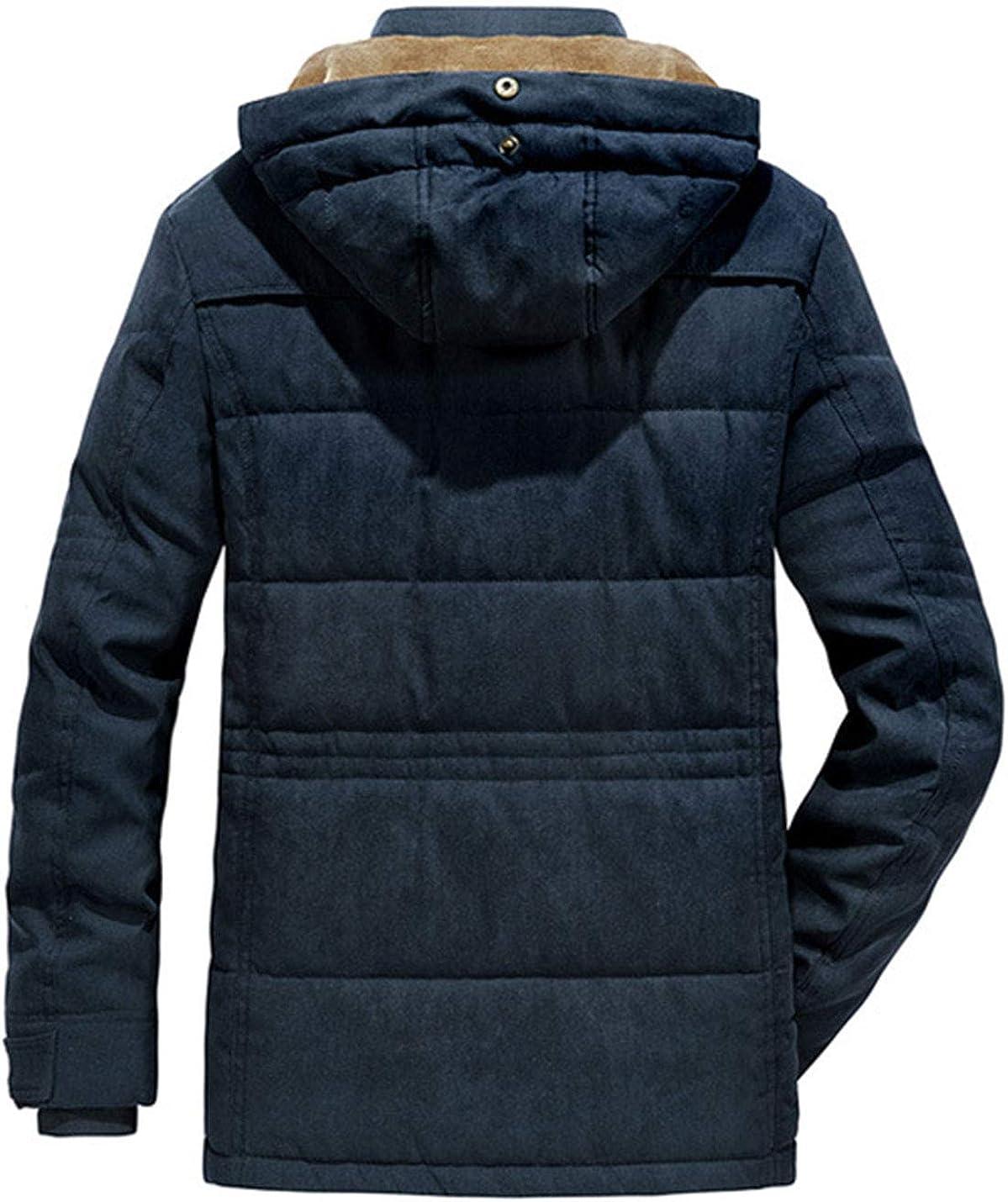Omoone Men's Loose Winter Fleece Lined Padded Hoodie Ski Jacket Coat Outercoat