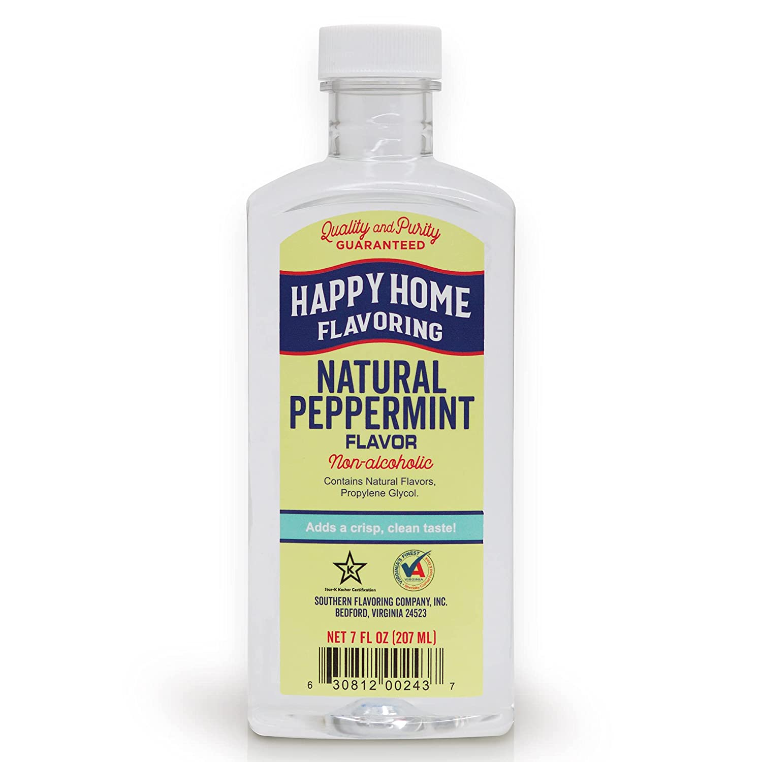 Happy Home Natural Peppermint Flavoring, Non-Alcoholic, Certified Kosher, 7 oz.
