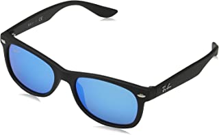 Kids' RJ9052S New Wayfarer Kids Sunglasses, Matte Black/Blue Mirror, 47 mm