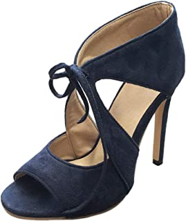 Cenglings Sexy Women's Peep Toe Flock Solid Lace Up Stiletto Heel Pumps Hollow Out High Heels Party Shoes Wedding Sandals