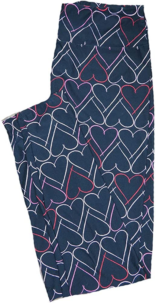 Lularoe One Size OS Solid Black with Thin Drawn Red White Pink Hearts Love Valentines Leggings (OS fits Adults 2-10) OS-4203-B