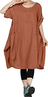 LADYSHOP فستان نسائي كتان تي شيرت فستان قصير الأكمام فستان ميدي فستان بياقة مستديرة