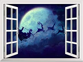 wall26 Removable Wall Sticker/Wall Mural - Santa Claus Flying at Christmas Eve Open Window Mural Wall Sticker - 24