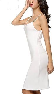 Unterkleid Mini Damen Baumwolle Blickdicht Weiß Nachtkleid Strandkleid Kurz