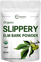 Sustainably US Grown Organic Slippery Elm Bark Powder, 1 Pound, Helps Soothe The Throat and Coughing, No Irradiated, No Co...