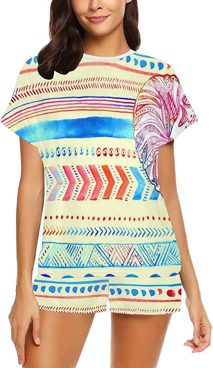 INTERESTPRINT Pattern with Elephant and Mandala Women's Breathable 2 Piece Shorts Pajama Sleepwear Set