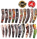Tattoo Arm Sleeves Fake Temporary Arm Tattoos Sleeve For Men Women Tatoo Arms Sun UV Cool Protection Unisex Stretchable Cosplay Accessories Running Cycling Arm Sleeves 20 PCS