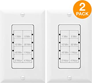 TOPGREENER 4 Hour Countdown Switch Timer   in-Wall, Electrical Switch for Fans Lights Ventilation heaters, Neutral Required, 600W LED, 1/2HP, UL Listed, Switchable Face Covers   TGT08 - White, 2 Pack