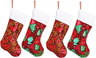 """4 Pack Sequin Christmas Stockings – 16"""" Personalized Sparkle Red, Green and Gold Flip Up Sequins Xmas Stockings - Great Gift for Kids & Family, Glittery Christmas Home Decorations & Home & Party Decor"""