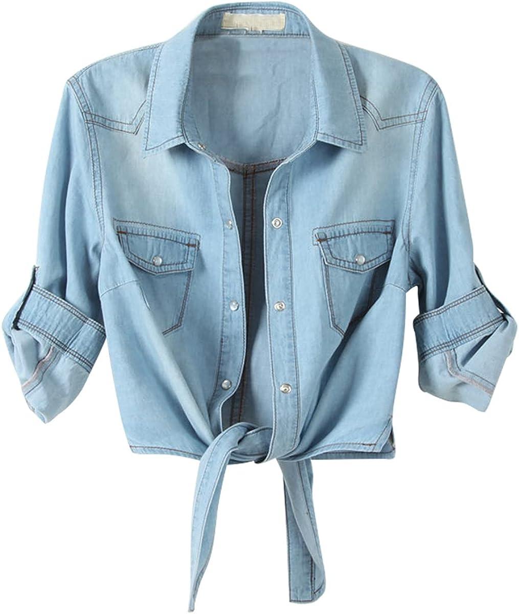 SeekMe Womens Denim Shirts Tie Front Crop Top Button Down Chambray Jean Shirt Cardigan