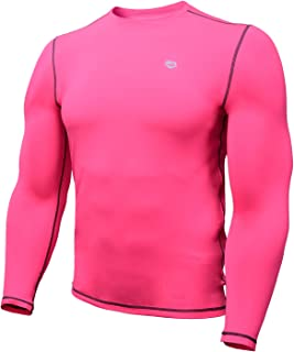 Zengjo Mens Compression Shirt Neon Athletic Shirt for Men Double Peached Long Sleeve Base Layer