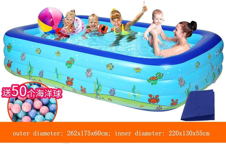子供用インフレータブルプール肥厚大人用特大パドリングプールホームバスプールマリンボールプール (Color : A, Size : 262x175x60cm)