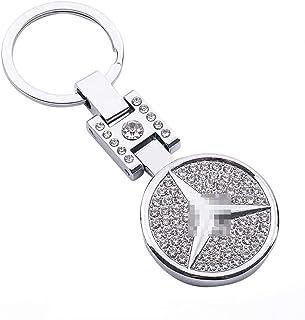 AutoDIY For Benz car Keychain Car Logo Key Ring 3D Metal Emblem Pendant Double Side Zircon Crystal Decoration Lanyard Keyc...