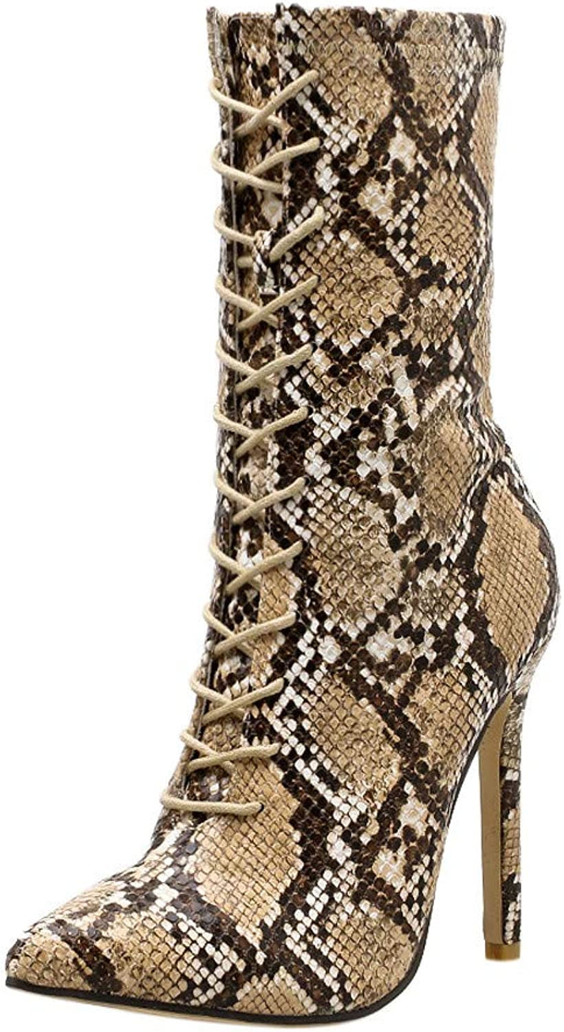 XUANOU Women Pumps Snakeskin Pattern Pointed Finger Zip Thin High Heels shoes Boots