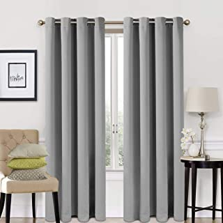EASELAND Blackout Curtains 2 Panels Set Room Darkening Drapes Thermal Insulated Solid Grommets Window Treatment Pair for Bedroom, Nursery, Living Room,W52xL84 inch,Light Grey