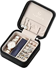 Vlando Small Faux Leather Travel Jewelry Box Organizer Display Storage Case for Rings Earrings Necklace (Black)