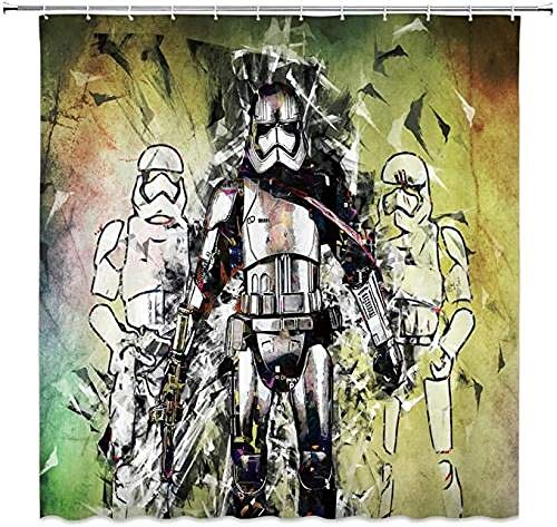 YUJEJ801 Shower Curtain With Hooks Star Wars Darth Vader Imperial Stormtrooper Waterproof Mould Proof Resistant Bathroom Curtain Washable Bath Curtain Polyester Fabric with 12 Hooks 180x180cm