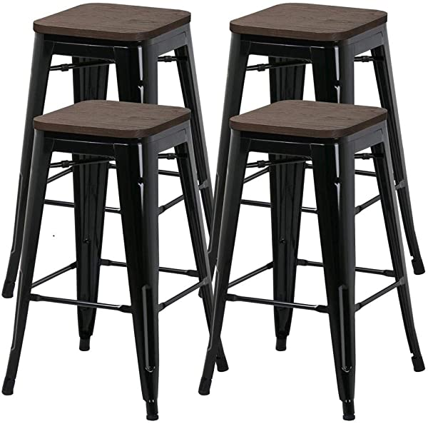 Yaheetech 26inch Barstools Set Of 4 Counter Height Metal Bar Stools Indoor Outdoor Stackable Bartool Industrial With Wood Seat 331Lb Black