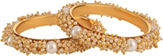 Efulgenz Indian Bollywood Traditional Ethnic Gold Plated Pearl Studded Bracelets Bangle Set Wedding Jewelry for Women