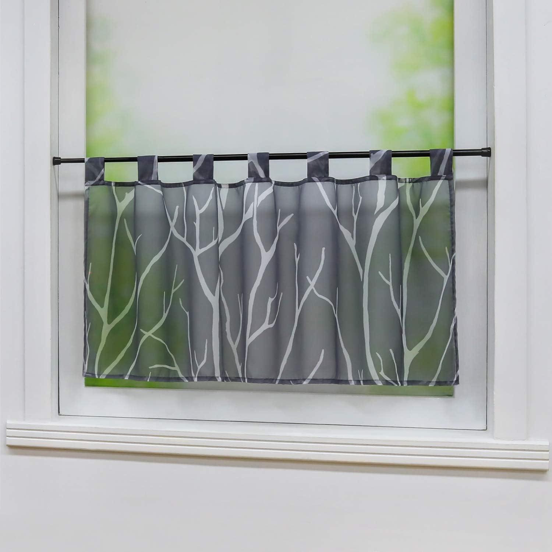 Joyswahl Alma Rideau brise-bise en voile d/évor/é avec passants Motif fleurs roses 60 x 90 cm