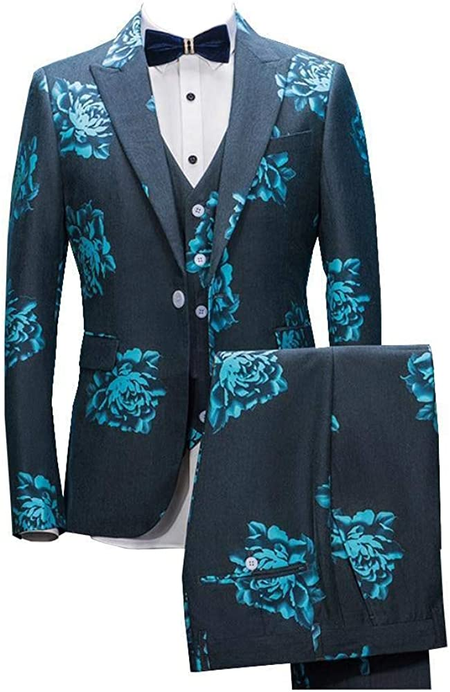 Men's 3 Pieces Dress Party Floral Suit Jacket Peak Lapel Slim Fit One Button Stylish Tuxedo