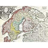 Map Homann 1730 Norway Finland Baltic Denmark Sweden Art