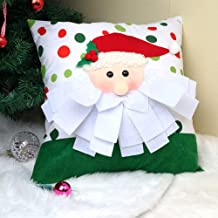 OurWarm 2PCS Christmas Pillows Covers 18 x 18 Inch, 3D Santa Throw Pillow Cover Set Christmas Pillow Covers for Home Decorations