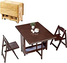 JCCOZ-URG 1.45M 2-Chairs Dining Table Set Folding Drop Leaf Butterfly Solid Wooden Kitchen Furniture Natural Pine JCCOZ-UR...