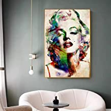 DHLHL Modern Movie Star Big Poster Prints Abstract Creative Colorful Marilyn Monroe Canvas Painting Living Room Wall Art Tableau Salon 60x85cm sin Marco