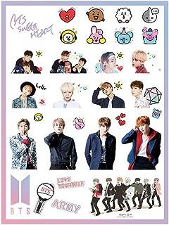 BTS Sticker Set Decal Jungkook V Jimin SUGA RM J-Hope Cute Stickers for Laptop Car Decoration Cellphone Stickers Cartoon Sticker (BTS1-2 Pic)